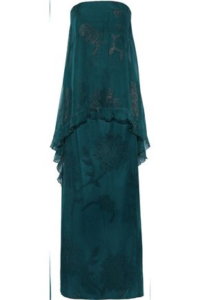 TALBOT RUNHOF Konawa strapless layered silk-blend jacquard gown