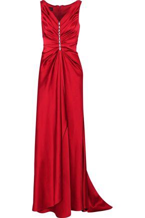 TALBOT RUNHOF Embellished ruched satin gown