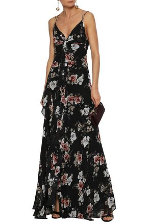 NICHOLAS Tie-front ruffled floral-print silk-georgette gown
