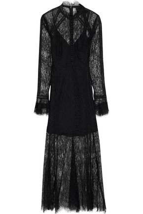 NICHOLAS Lattice-trimmed Chantilly lace midi dress