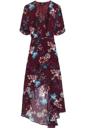 NICHOLAS Wrap-effect ruched floral-print silk-georgette dress