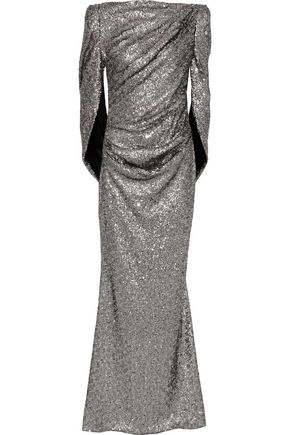 TALBOT RUNHOF Konica cape-effect sequined mesh gown