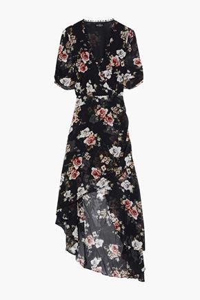 NICHOLAS Asymmetric wrap-effect floral-print silk-georgette dress
