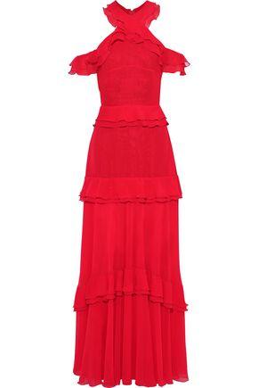 TALBOT RUNHOF Morissa cold-shoulder tiered chiffon gown