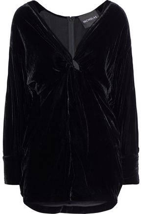 NICHOLAS Twist-front velvet mini dress