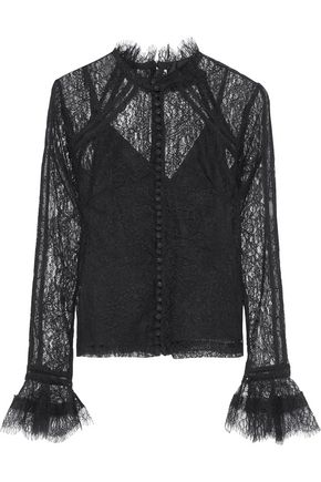 NICHOLAS Button-detailed Chantilly lace blouse