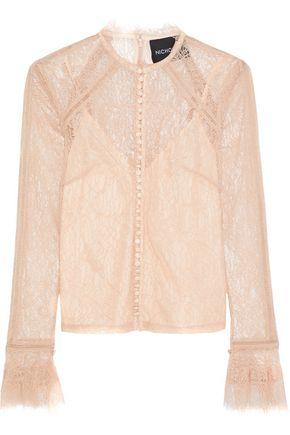 NICHOLAS Button-detailed Chantilly lace blouse