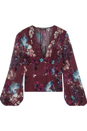 NICHOLAS Gathered floral-print silk-georgette blouse