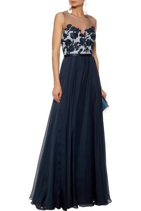 CATHERINE DEANE Embellished tulle and silk-chiffon gown