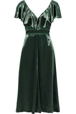 VALENTINO Tie-back ruffled velvet dress