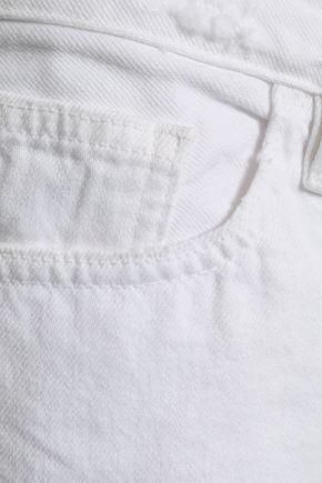 FRAME Le Grand Garcon distressed denim shorts