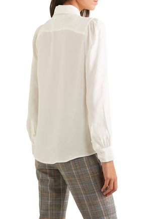 FRAME Tie-neck washed-silk blouse