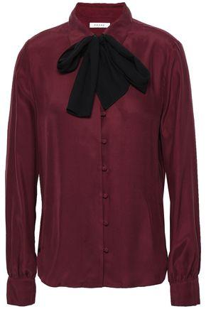 FRAME Pussy-bow silk shirt
