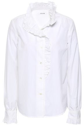 FRAME Ruffled cotton-poplin shirt