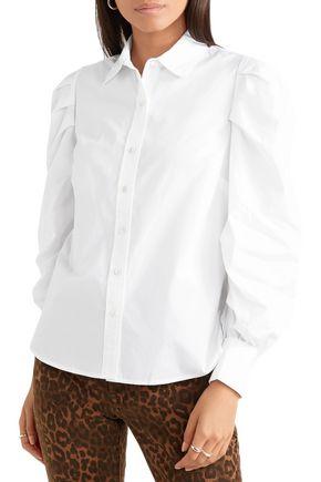 FRAME Ruched cotton-poplin shirt