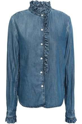 FRAME Ruffle-trimmed chambray shirt