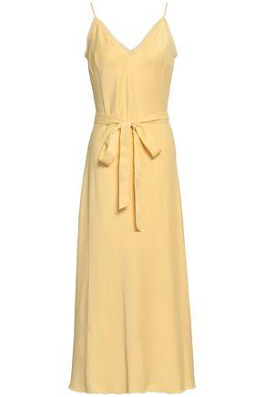 FRAME Belted satin-crepe midi dress