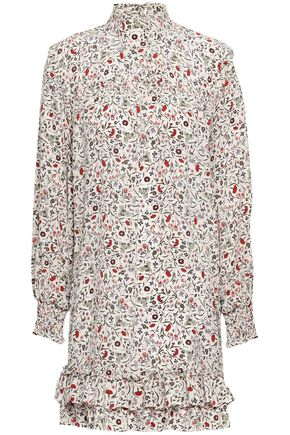 FRAME Tiered printed silk crepe de chine mini dress
