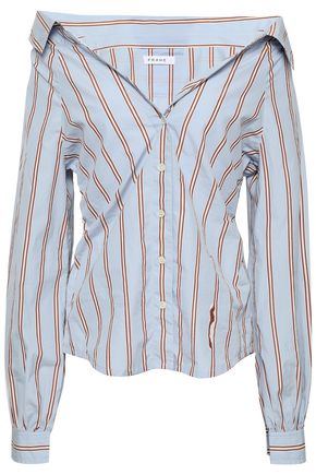 FRAME Off-the-shoulder striped cotton-poplin shirt