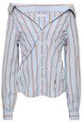 FRAME Off-the-shoulder striped cotton-poplin shirt