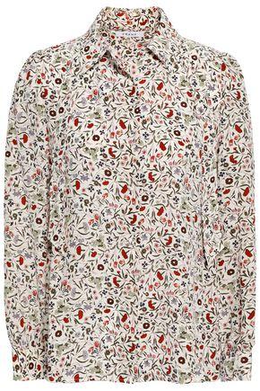FRAME Floral-print silk shirt