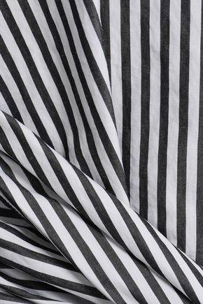 FRAME Tie-front striped cotton-poplin shirt