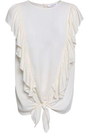 FRAME Ruffled draped crepe blouse