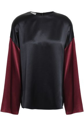 VINCE. Two tone silk crepe-satin top