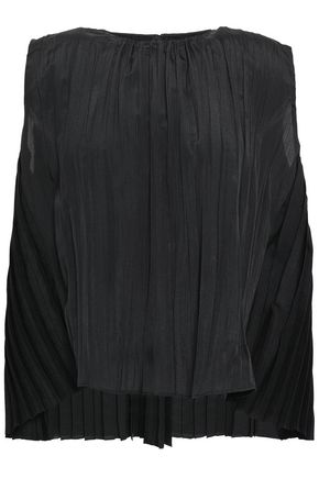 VINCE. Pleated crepe de chine top