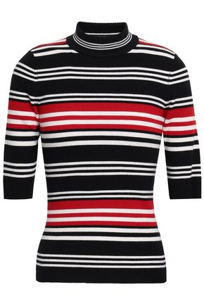 NICHOLAS Striped ribbed wool-blend turtleneck top