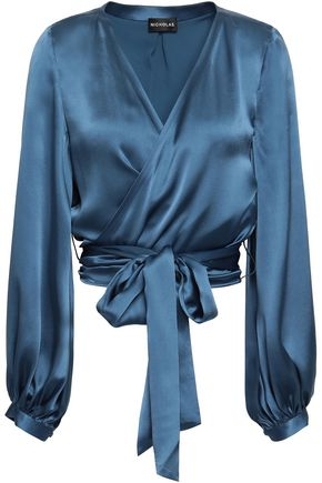 NICHOLAS Silk-charmeuse wrap blouse