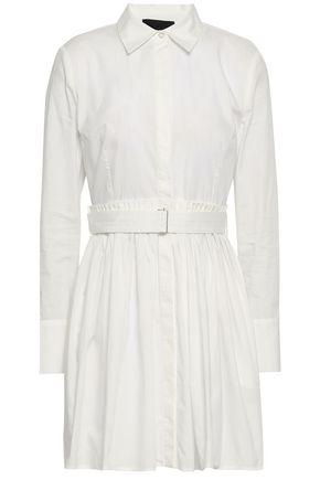 NICHOLAS Pleated cotton-poplin mini shirt dress