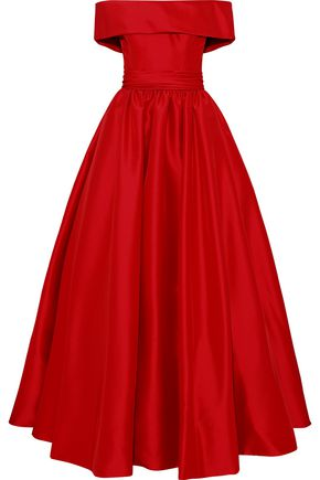 REEM ACRA Off-the-shoulder gathered duchesse-satin gown