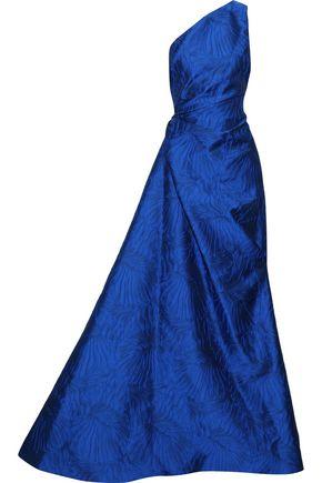 REEM ACRA ワンショルダー ギャザー入り ふくれ織りジャカード ロングドレス