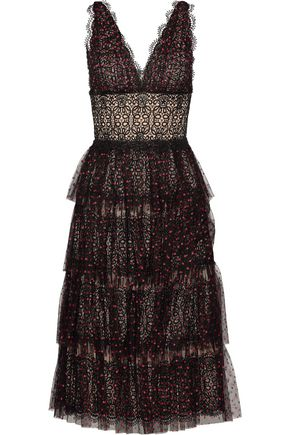 CATHERINE DEANE Katiana tiered Swiss-dot tulle and lace midi dress