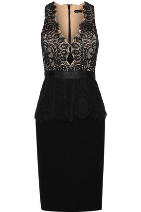 CATHERINE DEANE Lilah cotton-blend lace and cady peplum dress