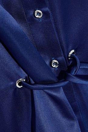 MUGLER Asymmetric tie-front silk-satin midi shirt dress