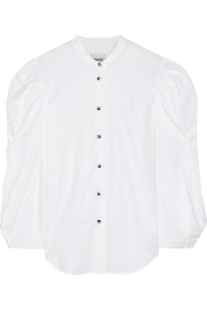 KHAITE Rebecca gathered cotton-poplin blouse