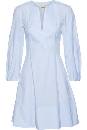 KHAITE Vanessa flared cotton-poplin mini dress