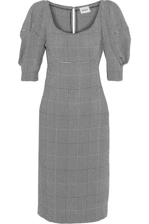 KHAITE Beatrice gathered Prince of Wales checked jacquard dress