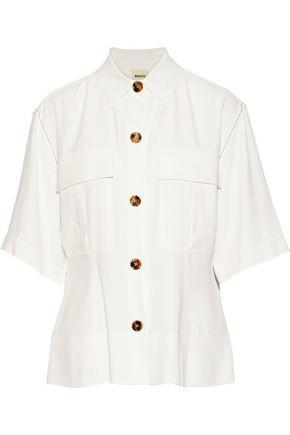KHAITE Leila crepe peplum shirt
