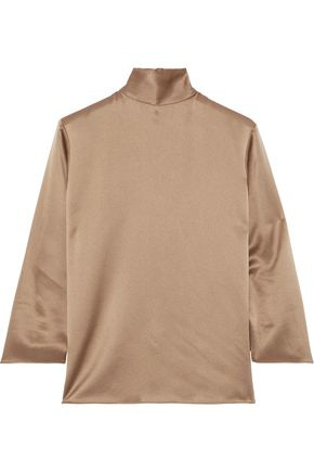 VINCE. Silk-charmeuse turtleneck blouse