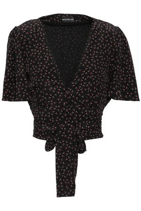 NICHOLAS Floral-print knotted silk top