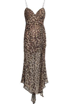 e4ee678e9e3d Ruched leopard-print silk midi dress | NICHOLAS | Sale up to 70% off ...