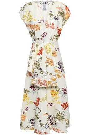 ROSIE ASSOULIN Flared floral-print cotton-blend faille peplum midi dress