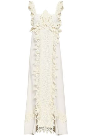 ROSIE ASSOULIN Ruffled crocheted lace and jacquard maxi dress