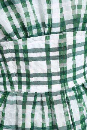 ROSIE ASSOULIN Flared checked seersucker peplum maxi dress