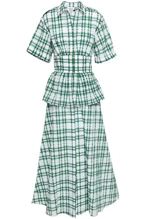 ROSIE ASSOULIN Flared checked seersucker peplum maxi dress