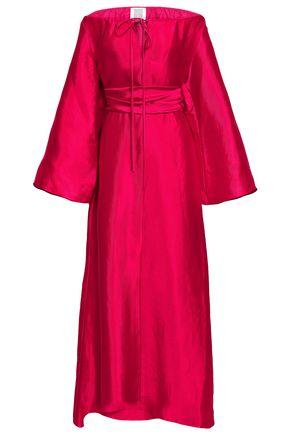 ROSIE ASSOULIN Off-the-shoulder linen-blend twill maxi dress
