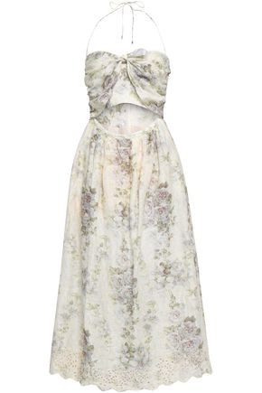 ZIMMERMANN Cutout broderie anglaise linen midi dress